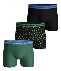 BOXERKY BJÖRN BORG LEMONSPLASH ESSENTIAL SHORTS 3-PACK ČERNÉ